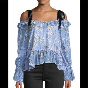 Cold-Shoulder Floral Top ! From Neiman Marcus !